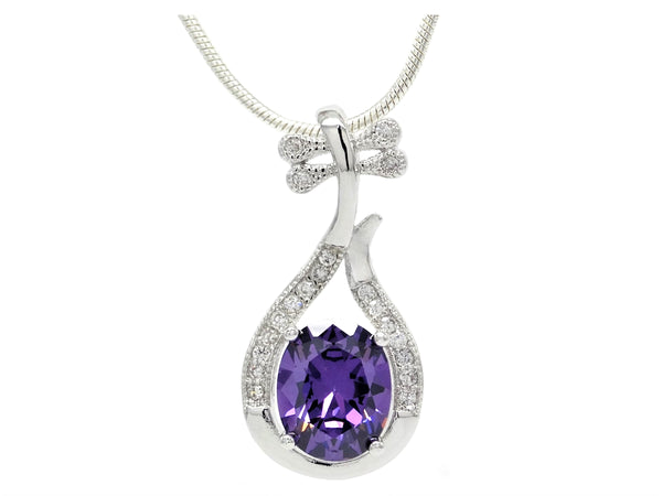 Purple oval gem silver necklace MAIN