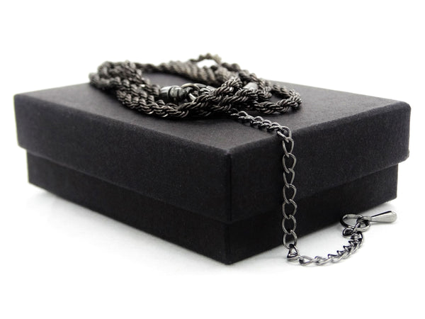 Black steel thin rope necklace GIFT BOX