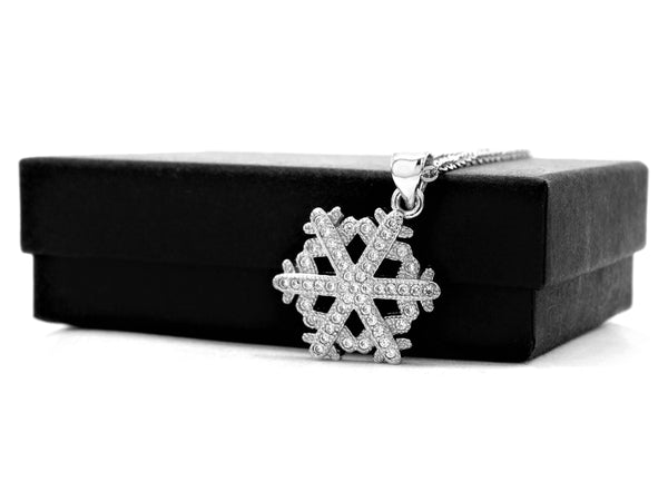 White gold snowflake necklace GIFT BOX