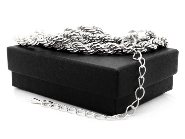 Sterling silver thick rope necklace GIFT BOX