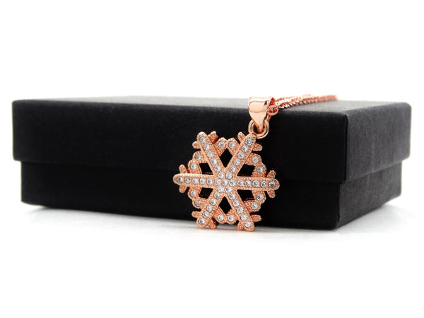 Rose gold snowflake necklace GIFT BOX