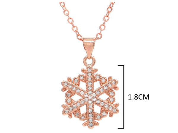 Rose gold snowflake necklace MEASUREMENT