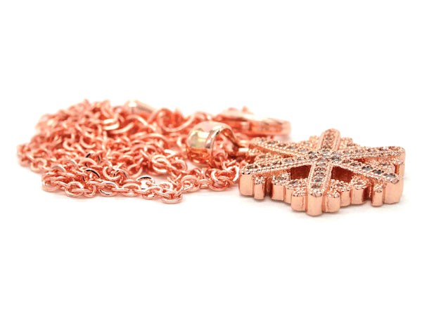 Rose gold snowflake necklace DISPLAY