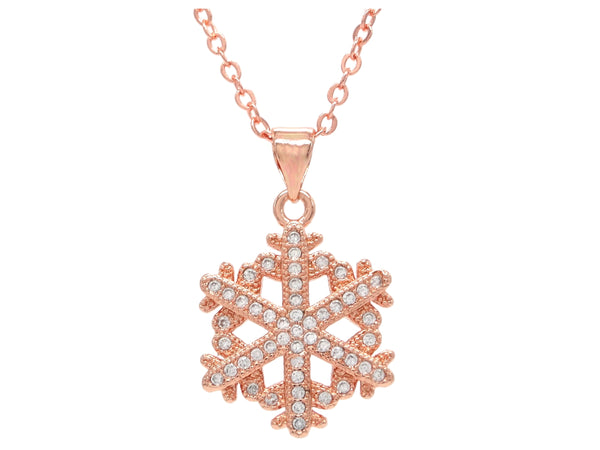 Rose gold snowflake necklace MAIN