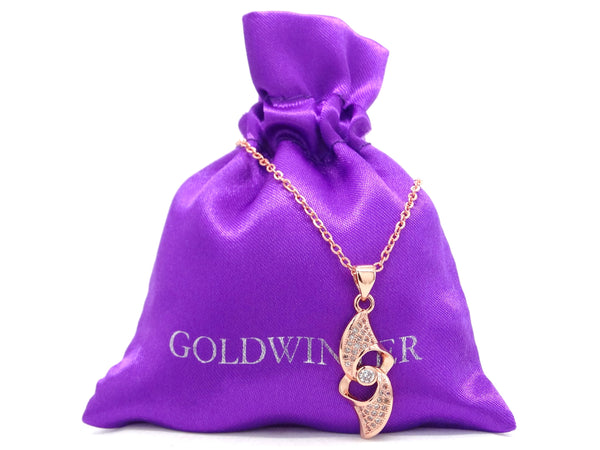 Rose gold white gems necklace GIFT BAG