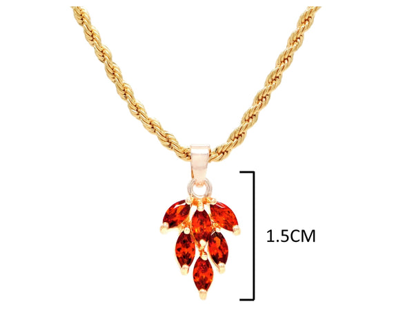 Red leaf gold necklace MEASUREMENT
