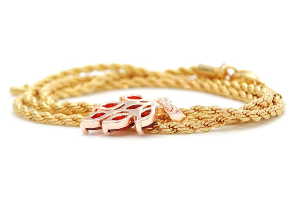 Red leaf gold necklace BACK