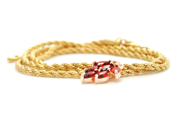 Red leaf gold necklace FRONT