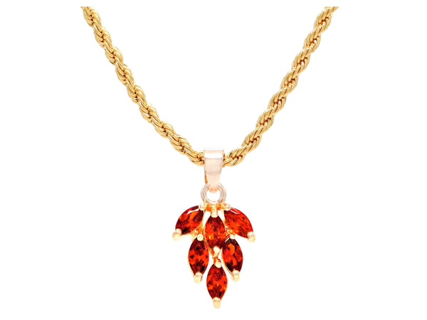 Red leaf gold necklace MAIN