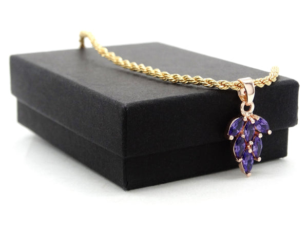 Purple leaf gold necklace GIFT BOX