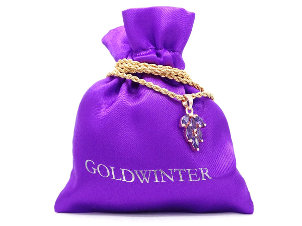 Purple leaf gold necklace GIFT BAG