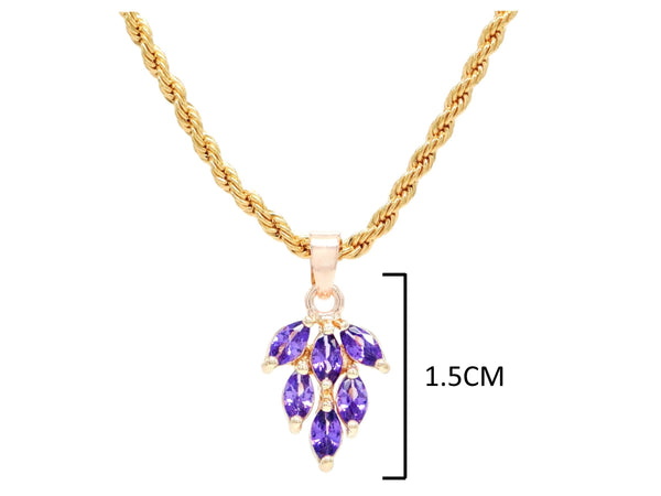 Purple leaf gold necklace MEASUREMENT