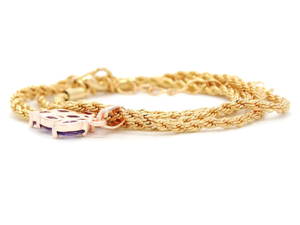 Purple leaf gold necklace BACK