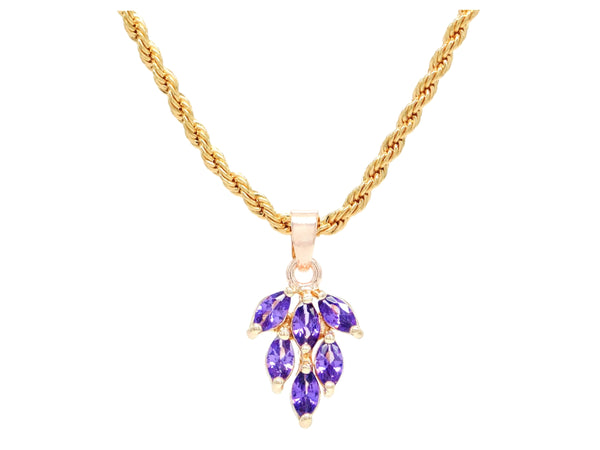 Purple leaf gold necklace MAIN
