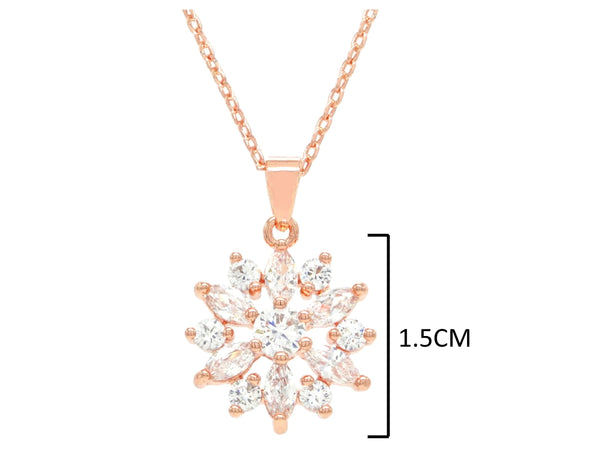 Rose gold sparkly white gems necklace MEASUREMENT