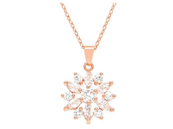 Rose gold sparkly white gems necklace MAIN