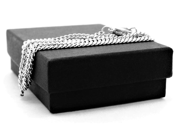 Black gem white gold necklace GIFT BOX