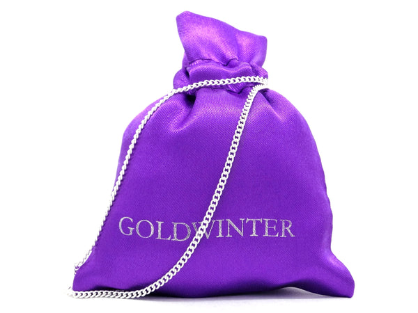 Purple gem white gold necklace GIFT BAG