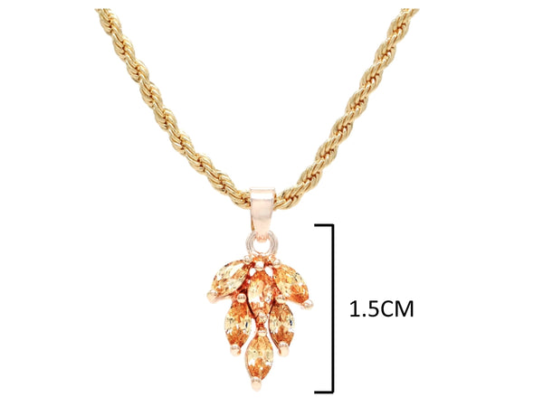 Citrine leaf gold necklace MEASUREMENT