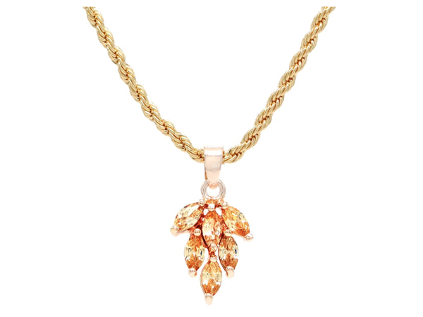 Citrine leaf gold necklace MAIN