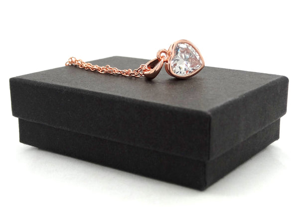 Rose gold heart gem necklace GIFT BOX