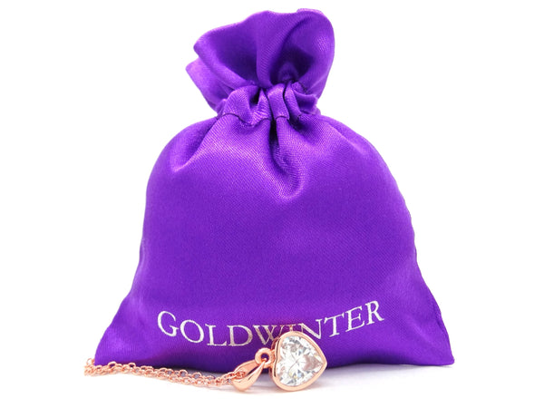 Rose gold heart gem necklace GIFT BAG