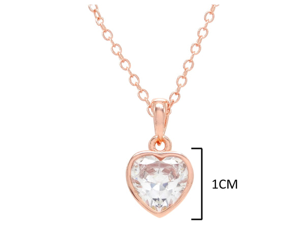Rose gold heart gem necklace MEASUREMENT