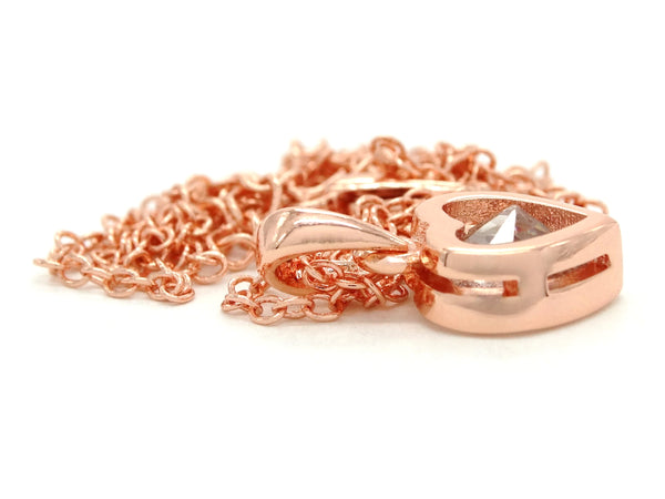 Rose gold heart gem necklace BACK