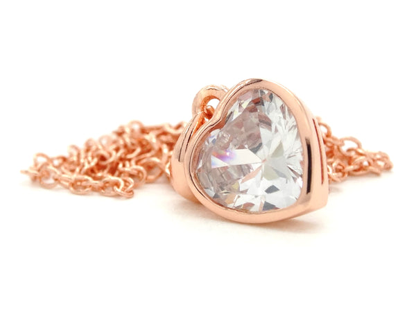 Rose gold heart gem necklace DISPLAY