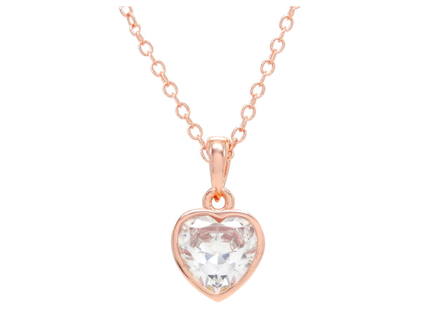 Rose gold heart gem necklace MAIN