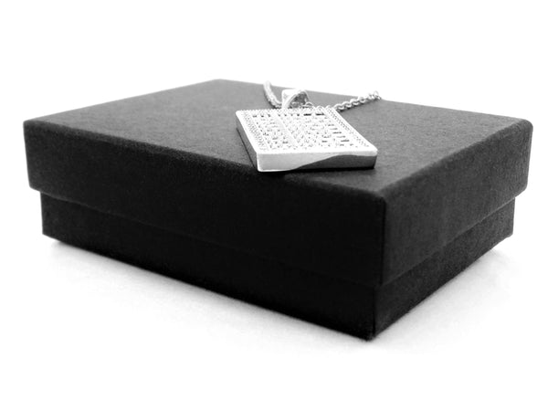 White gold abacus necklace GIFT BOX