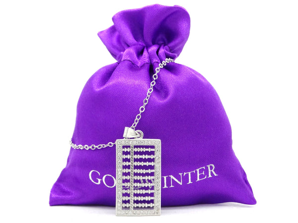 White gold abacus necklace GIFT BAG