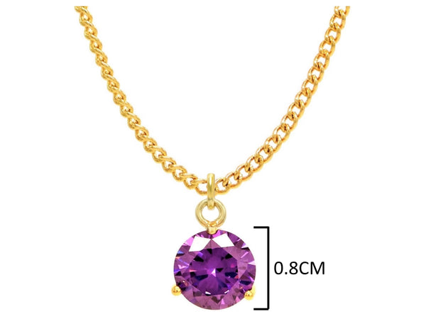 Purple gem gold necklace MEASUREMENT