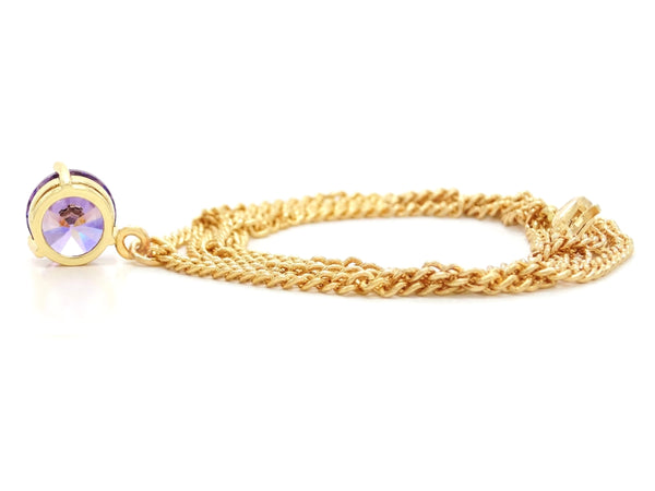 Purple gem gold necklace BACK