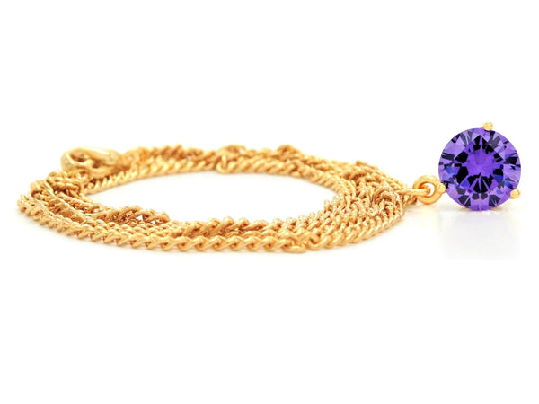 Purple gem gold necklace FRONT