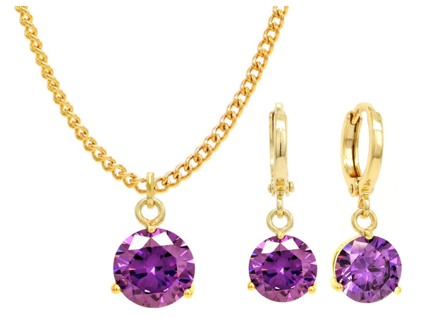 Yellow gold purple round gem necklace and earrings MAIN
