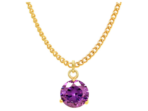 Purple gem gold necklace MAIN