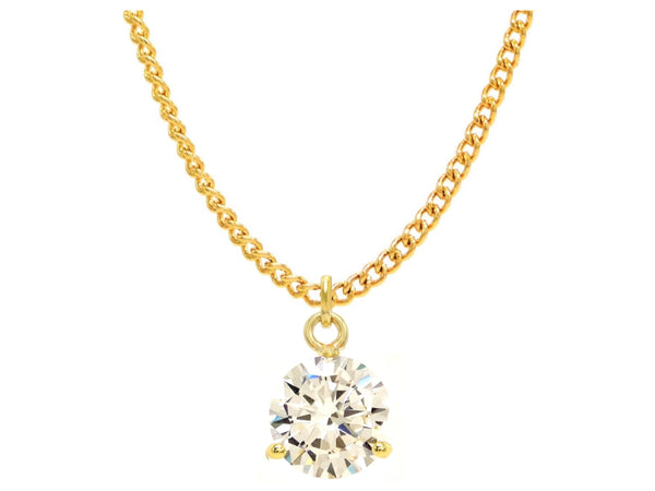 Clear gem gold drop necklace MAIN