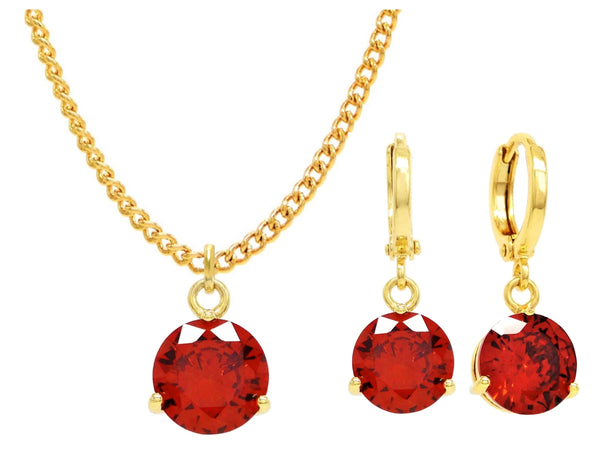 Yellow gold red round gem necklace and earrings MAIN