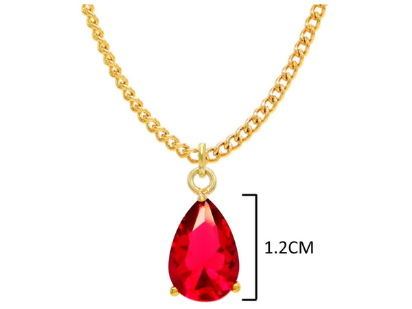 Yellow gold red pear gem necklace and earrings MEASUREMENT