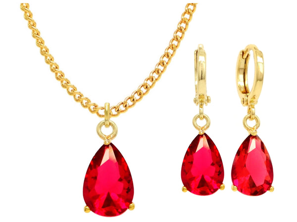 Yellow gold red pear gem necklace and earrings MAIN