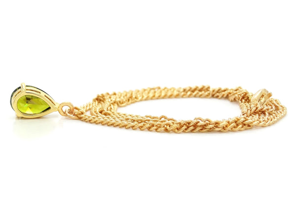 Green raindrop gem gold necklace BACK