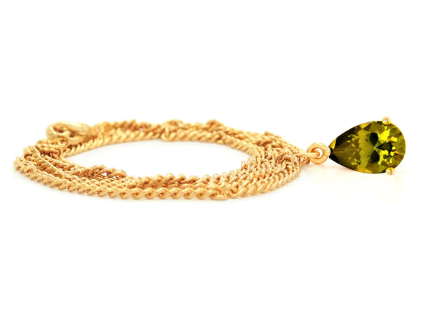 Green raindrop gem gold necklace FRONT