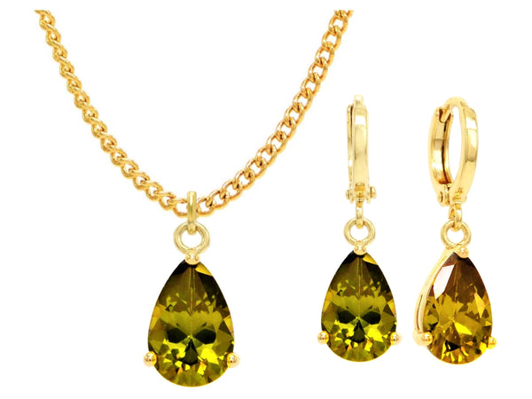 Yellow gold green pear gem necklace and earrings MAIN