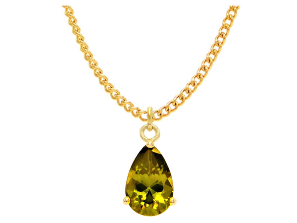 Green raindrop gem gold necklace MAIN