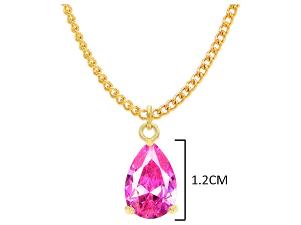 Pink raindrop yellow gold necklace MEASUREMENT