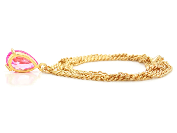 Pink raindrop yellow gold necklace BACK