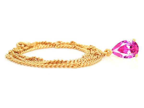 Pink raindrop yellow gold necklace FRONT