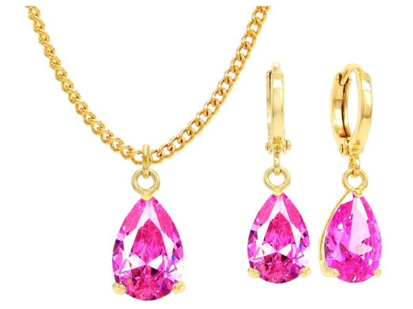 Yellow Gold Pink Pear Gem Necklace And Earrings MAIN