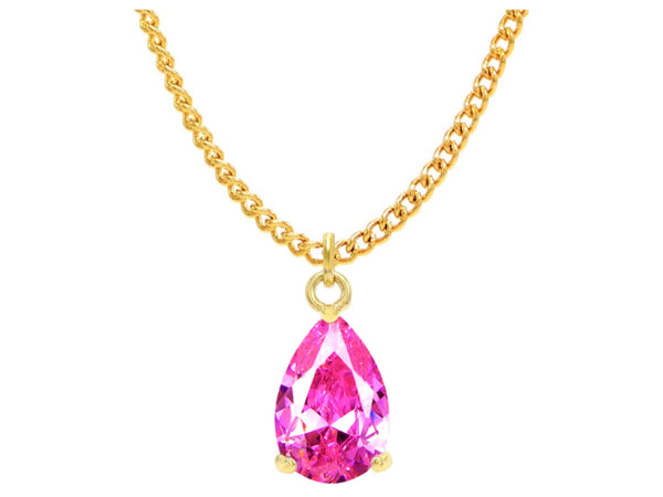 Pink raindrop yellow gold necklace MAIN